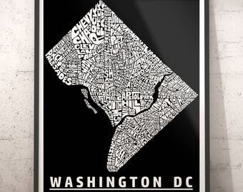 Washington DC map art, Washington DC art print, Washington DC typography, Washington dc neighborhood map with title, several color options