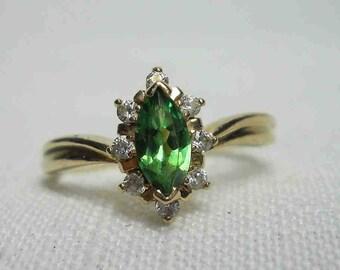 Bohemian Engagement Tsavorite Green Garnet Ring 14K Gold Sz. 8