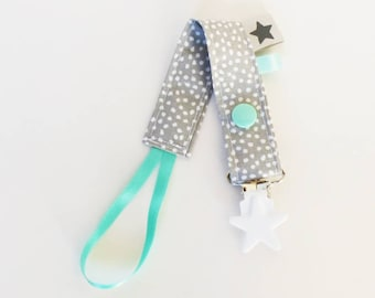 Pacifier - mint-white polka dots-gray-green design fabric