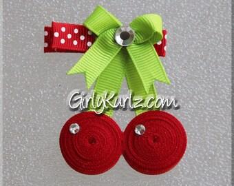 Cherry Hair Clip, Cherry Ribbon Sculpture, Fruit Hair Clip, Summer Hair Clip, Cherry Hair Bow, Cherry Clip