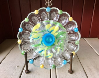 "Repurposed Glass Flower, Sun Catcher Glass Garden Art - ""Crystal"" Blue Yellow Green Crystal Flower, Made from Glass Plates"