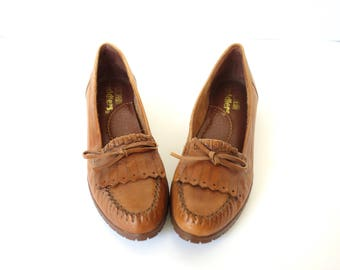 Vintage 80s Brown Leather Moccasin Loafers, Cobbie Cuddlers, Size 7.5