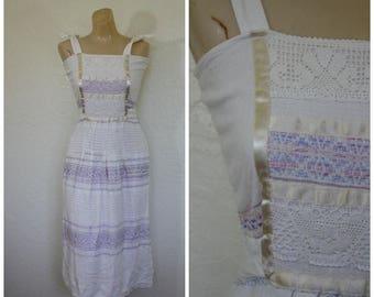 Sale Vintage Summer Sun Dress / 1970's Mexico Sundress / 70s Mexican Dress / Beach Dress / Embroidered Macrame Dress / Vintage Sundress  S
