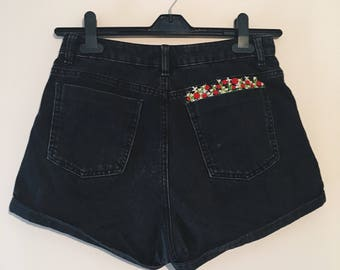 Pocketful of Flowers Embroidered Black High Waist Denim Shorts