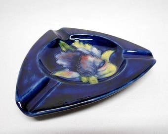 Moorcroft Orchid Blue Cobalt Ashtray Triangle Blue & Pink Flower Made in England