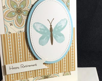 Happy Retirement, butterfly, card, handmade