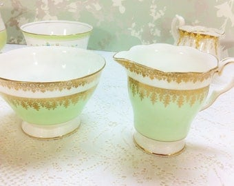 Spearmint Green with Gold Filigree Creamer and Sugar Bowl
