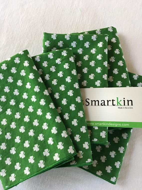 Lucky Green Shamrock All Cotton Lunch Box Napkin 12x15 in Size by Smartkin