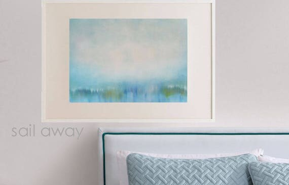 Original Oil Landscape Art Painting, Modern Waterscape, Impressionist Style, Wall Hanging Canvas Bedroom Living Room Sky Soft Blue Green USA