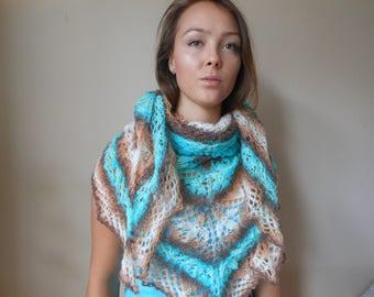Lace Shawl Mohair Yarn Blue Beige Brown Triangular Shawl, Hand Knitted