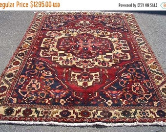 SUMMER CLEARANCE Persian Rug 1970s Hand-Knotted Bakhtiari Persian Rug (3132)