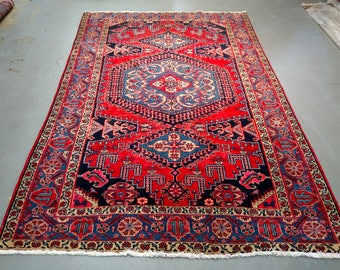 Persian Rug - 1980s Hand-Knotted Wiss/Viss Rug (3698)