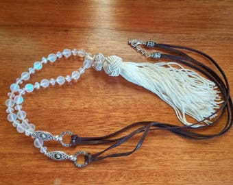 Tassel Necklace, Layering Necklace, White Tassel Necklace, Long Necklace, Bohemian Jewelry, Glass Bead Necklace, Tassel Jewelry, Tassels