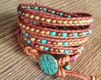 Wrap Bracelet, Beaded Bracelet, Leather Wrap Bracelet, Bohemian Jewelry, Layering bracelet, Boho Jewelry