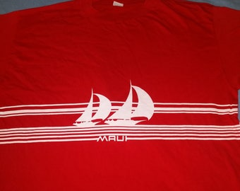 VINTAGE Maui Crazy Shirts Hawaii Sailboat Marine Red Tee XL