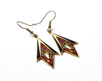 Vintage Cloisonné Enamel Earrings, Diamond Shaped Earrings, Pierced Dangle Earrings, Cut Out Earrings, Gold Tone, 1980s
