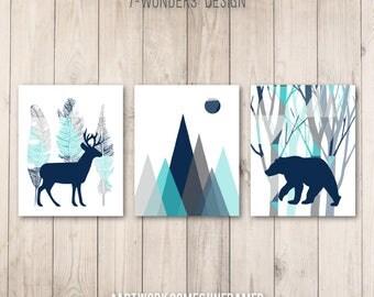 Boys Woodland Nursery Art Prints, Baby Boy Decor,  Navy Turquoise Grey, Tribal Art, Bear Deer Mountains, Set of (3) Many Sizes Unframed