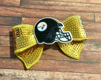 Steelers Hair Bow-Steelers Hair Clip-Girly Steelers Hair Bow-Fancy Steelers Hair Bow-Simple Steelers Bow