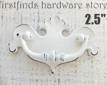 Shabby Chic White Drawer Pull Chippendale Swing Handle Furniture Metal Dresser Painted Cabinet Hardware Distressed ITEM DETAILS BELOW