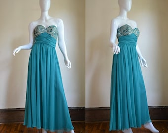 1970s Mike Benet Beaded & Sequin Gown In Teal Chiffon Bust 36""