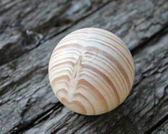 75 mm (pine) big wooden bead (wooden ball) WITHOUT hole - natural eco friendly - pine-tree