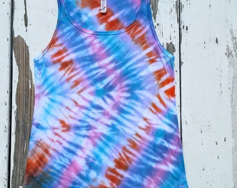 Turquoise, Orange, and Pink Tie Dye Tank // Bella and Canvas Relaxed Fit // Women's Size Small