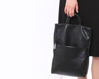 Black Tote Purse, Vegan Handbag, Crossbody Tote Bag, Tote Purse, Black Purse for Women, Mini Satchel, Small Tote