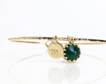 Genuine Emerald Bracelet / Personalized Emerald Charm Bangle / May Birthstone / New Mother Gift / May Birthday Gift for Her