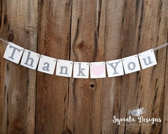 Thank you heart banner - photo prop - wedding decoration- Blush pink heart- grey lettering -  lower case letters - romantic - IATY131