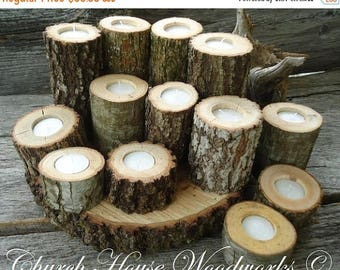 SALE 12 Tree Branch Candle Holders, Rustic Wedding Candle Holders, Rustic Wedding Centerpieces, Wood Candle Centerpieces