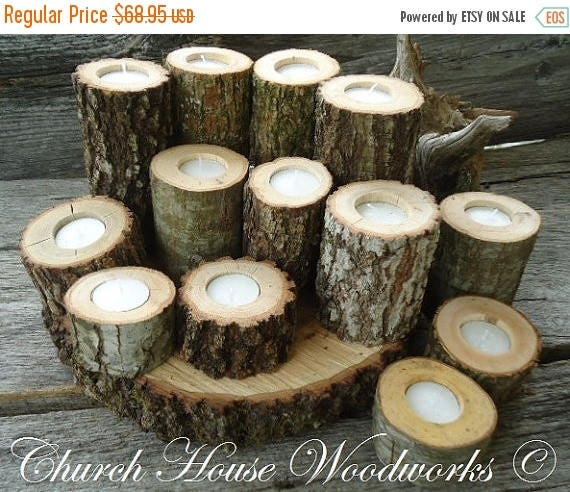 SALE 12 Tree Branch Candle Holders Rustic Wedding Candle
