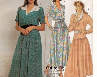 A Dropwaist, Buttoned Bodice, Full Skirt Dress with Collar & Sleeve Variations Pattern for Women: Uncut - Sizes 12-14-16 • McCall's 3081
