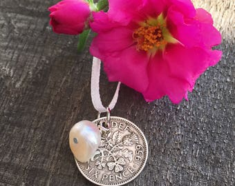 Lucky sixpence with pearl bouquet charm
