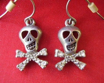 Skull and Cross Bone Earrings with Rhinestones