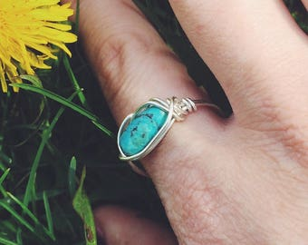 Genuine Turquoise Sterling Silver Ring, Wire Wrapped Ring, Size 8