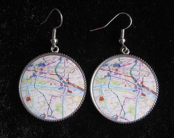 "Vintage earrings ""Paris Metro"" resin"