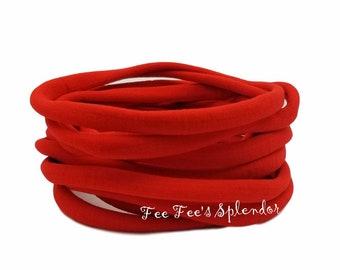 5 or 10 pc - Nylon Headbands - Stretch hairbands - Newborn headbands  * RED * Wholesale Headband supplies