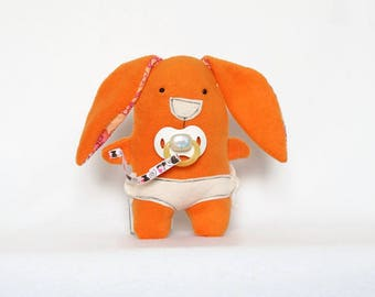 Orange Baby Rabbit Softie, Bunny Rabbit, Plush Toy, new baby gifts, baby shower gifts for boys, gifts for baby boy, unique baby boy gifts