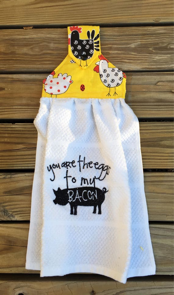 Items similar to White Hanging snap kitchen towels ...