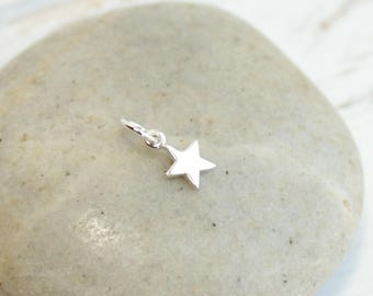 Sterling Silver Star Tiny Charms  -- One Piece  -- 925 Sterling Mini Pendants
