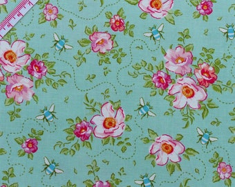 Tilda Rosa Mollis Teal Fabric of Tilda's Bumblebee Quilt Collection - Fat Quarter / 50cm x 55cm