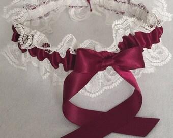 Burgundy and Ivory Lace Wedding Garter, Bridal Garter, Prom Garter, Garter Belt, Lace Garter, Plus Size Garter