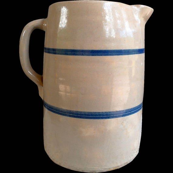 Antique Stoneware Double Blue Band Pitcher