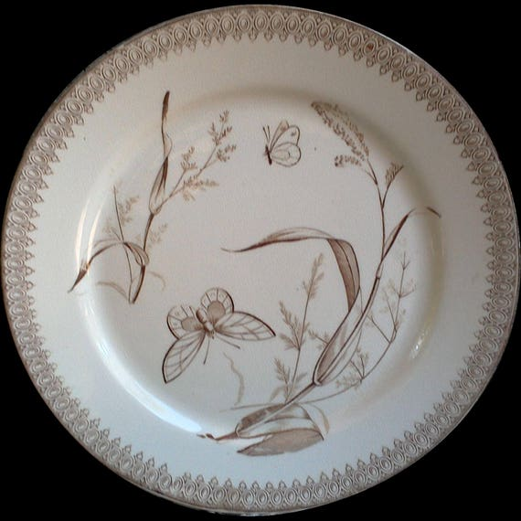 Antique Brown and White Dinner Plate, Brown Transferware, T&R Boote England, Butterflies, Summer Time, 1800s, Ironstone, Wall Scape, Serving