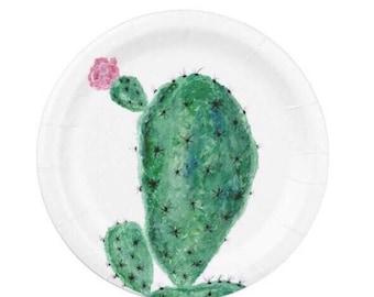 Cactus Paper Plates, succulent plates, cactus paper plate, cactus party decor, white paper plates, green paper plates, floral paper plates