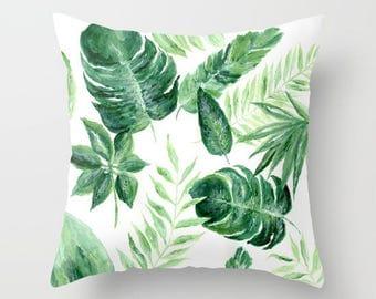 Palm Leaf Throw Pillow Cover, palm leaf pillow, palm leaves pillow, palm throw pillow, leaf throw pillow, modern pillow, tropical pillow