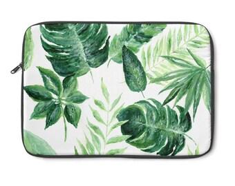 Palm Leaf Laptop Sleeve, palm leaf sleeve, palm leaf case, tropical leaf case, tropical sleeve, palm leaf laptop, monstera leaf