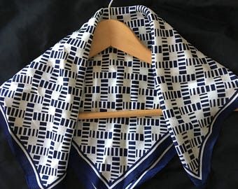 """Acetate Twill scarf Blue white Print made in Japan Nautical Neck scarf Bandana Preppy gift for her classic summer accessory 19 """" square"""