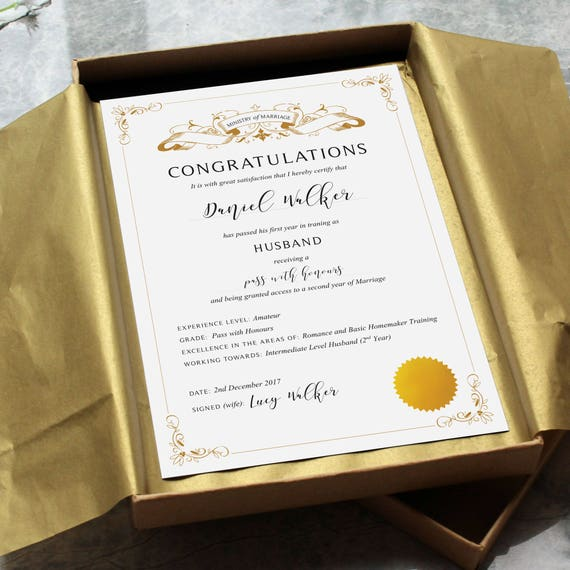 Gifts For Paper Wedding Anniversary: First Anniversary Husband Certificate Funny Paper Gift
