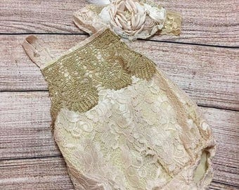 Baby Girl's Gold Lace Romper